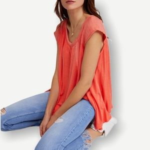 FREE PEOPLE Keep It Casual Top Size Small Coral